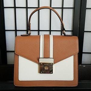 Aldo Brown and White Leather Handbag